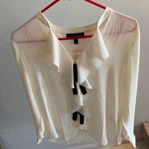 Cream High V neck Blouse